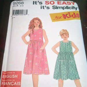Simplicity Sewing Pattern Kids Dresses SZ 3-12
